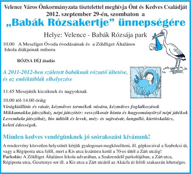 Babák Rózsakertje ünnepség Velencén - 2012. szeptember 29