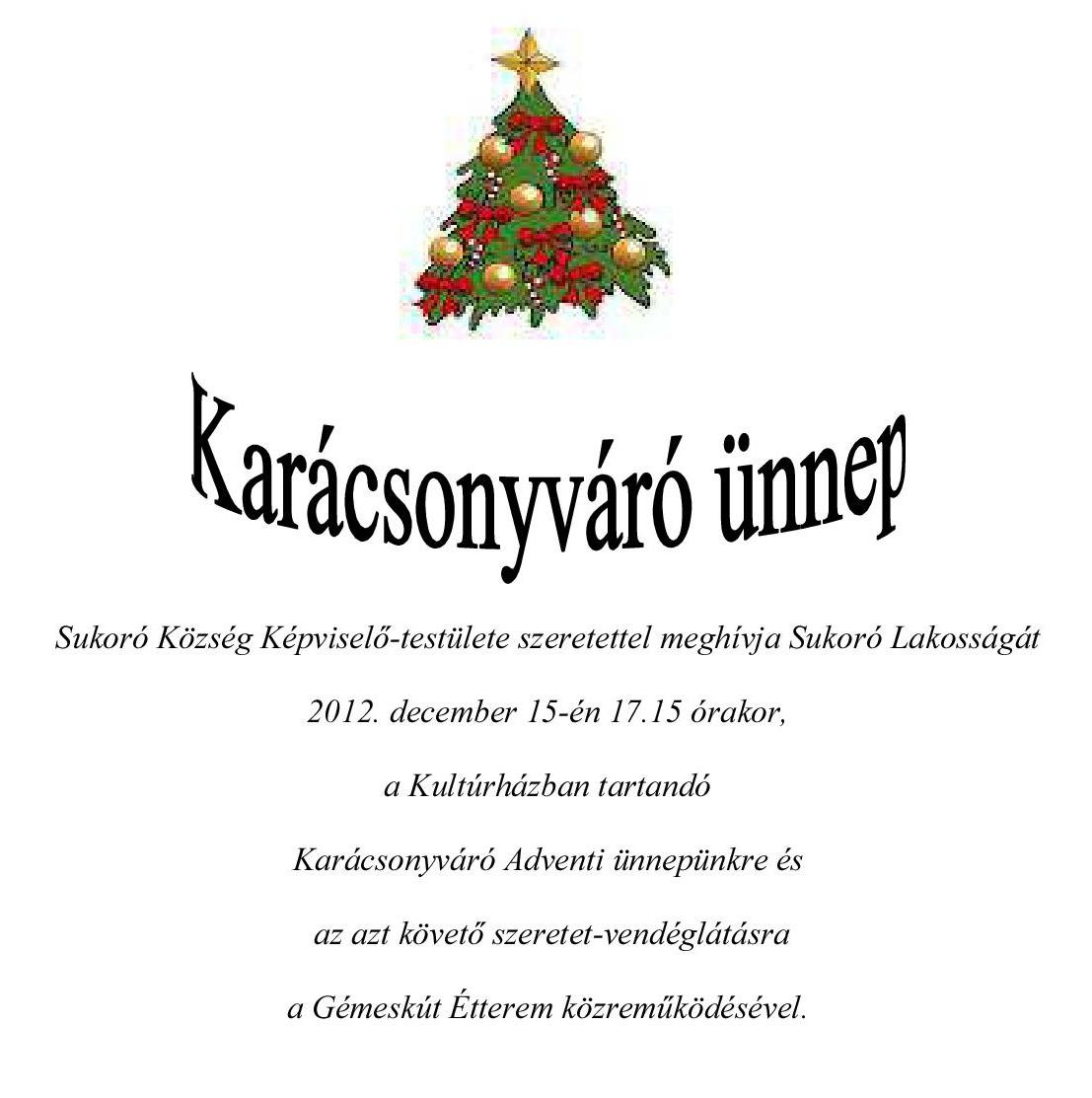 Karácsonyváró ünnep Sukorón - 2012. december 15.
