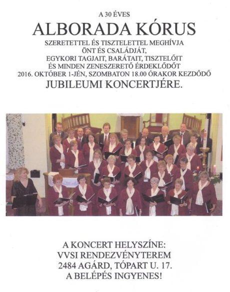Az Alborada kamarakórus jubileumi koncertje Agárdon @ Velencei-tavi Vízi Sportiskola