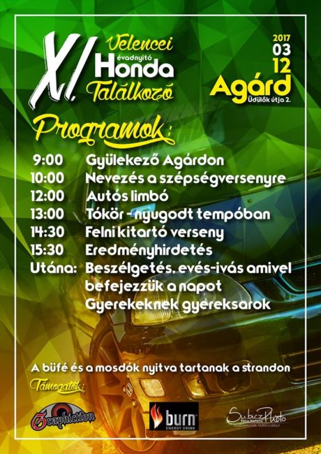 XI. Velencei Évadnyitó Honda Találkozó @ Tini Strand nagyparkoló