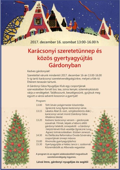 Karácsonyi szeretetünnep és közös gyertyagyújtás Gárdonyban @ Kék-tó Étterem