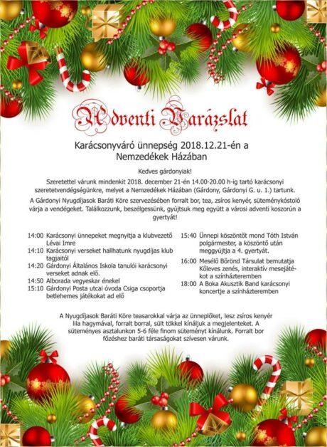 Adventi Varázslat Karácsonyváró ünnepség Gárdonyban @ Nemzedékek Háza
