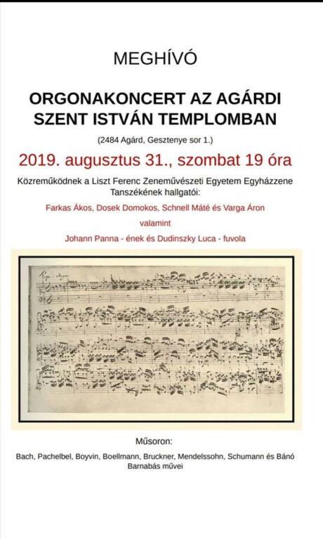 Orgonakoncert Agárdon @ Szent István templom