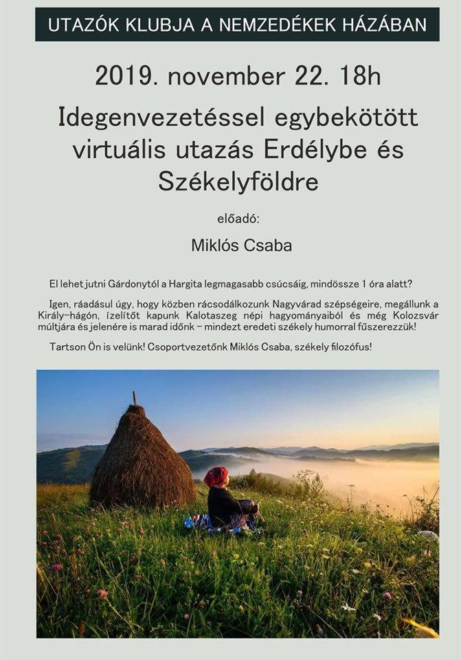 Utazók Klubja a Nemzedékek Házában - Virtuális utazás Erdélybe @ Nemzedékek Háza